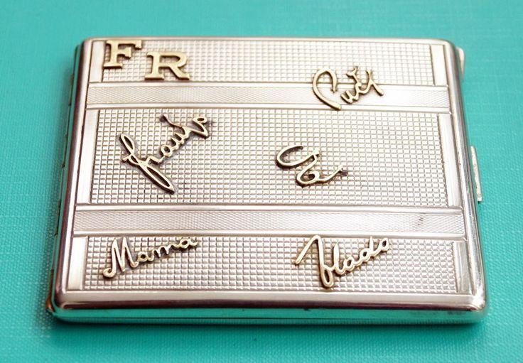 Zigarettenetui  Silber  Gold   Kroatien Zagreb 17.IV.1944   cigarette case