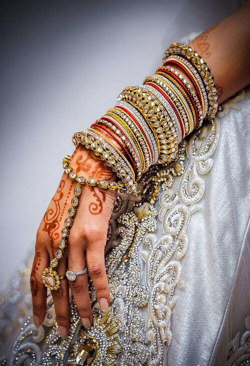Bridal bangles and hand ring bracelet for an authentic desi bride.