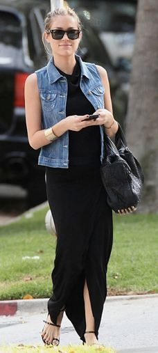 Who made Kristin Cavallari's denim vest, black dress, sunglasses and black studded handbag?
