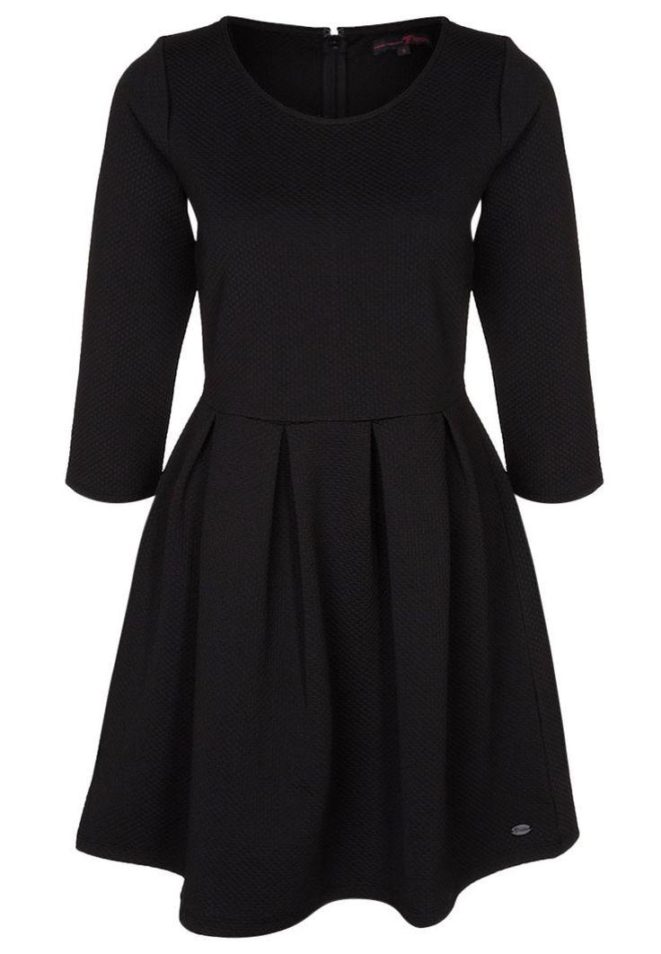 Tom Tailor Denim Sukienka czarna rozkloszowana rekaw 3/4 z dżerseju black