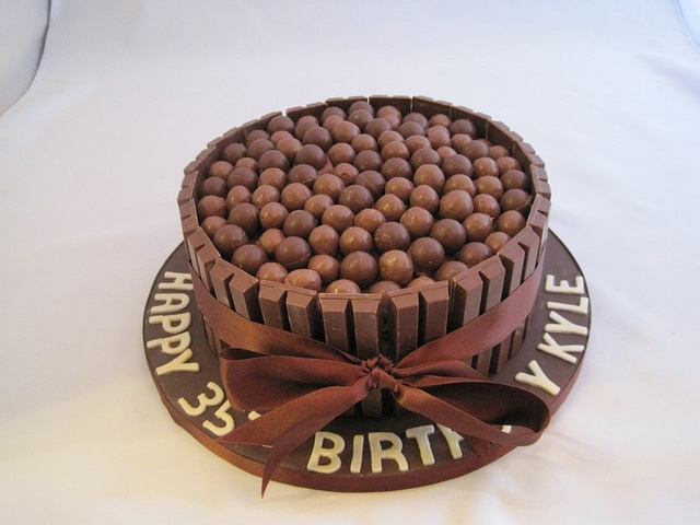 Kit Kat Cake with (malted milk balls), love the idea for someone who ...