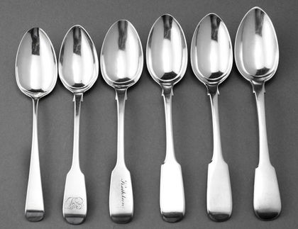 York Silver Teaspoon Collection (6) - Barber, Cattle, North...An interesting collection of York silver teaspoons, with well struck and interesting York silver hallmarks. The oldest spoon is Old English pattern, the other 5 are Fiddle pattern. The spoons are as follows: 1. Old English, Robert Cattle & James Barber, 1809, Mark 16, Baggott, pg 89 (An Illustrated Guide to York Hallmarks 1776-1858) 2. Barber, Cattle & North, 1828, mark 21 Baggott, pg 89 - half moon... Antique Silver Spoons