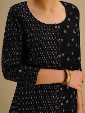 Black-Grey Hand woven Ikat Asymmetrical Cotton Kurta