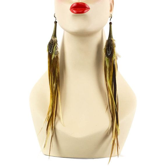 Acheter boucle d'oreille plume longue