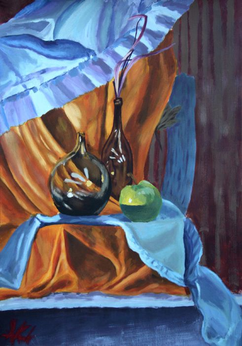 Blue and orange #apple #blue #orange #bottle #painting #academic #art