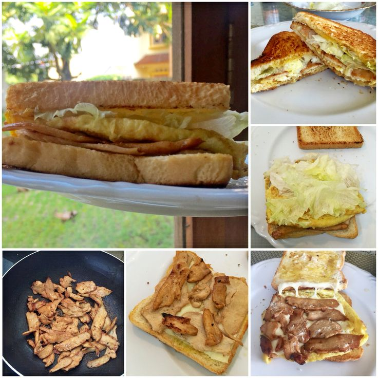 Sandwich with lettuce and roasted chicken