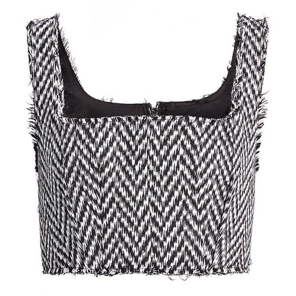 Joseph Chevron Sydney Knit Bustier Top in BLACK/WHITE (4,170 CNY) ❤ liked on Polyvore featuring tops, corset shirts, knit shirt, zipper shirt, chevron tops and black and white chevron shirt