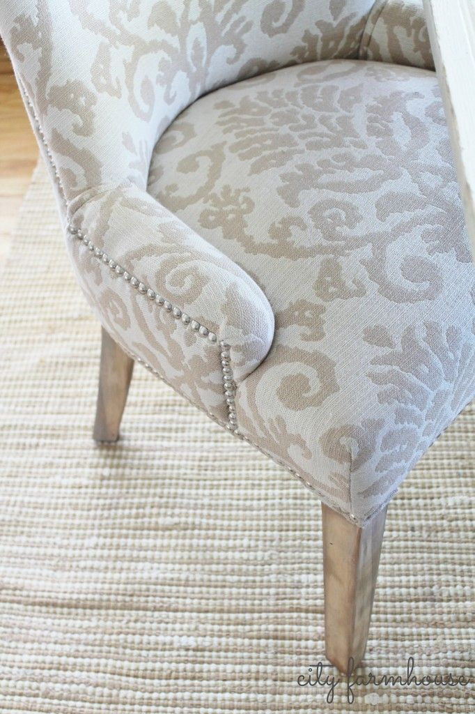 Easy makeover for your dark legged chairs-take them from tradional to rustic glam-City Farmhouse