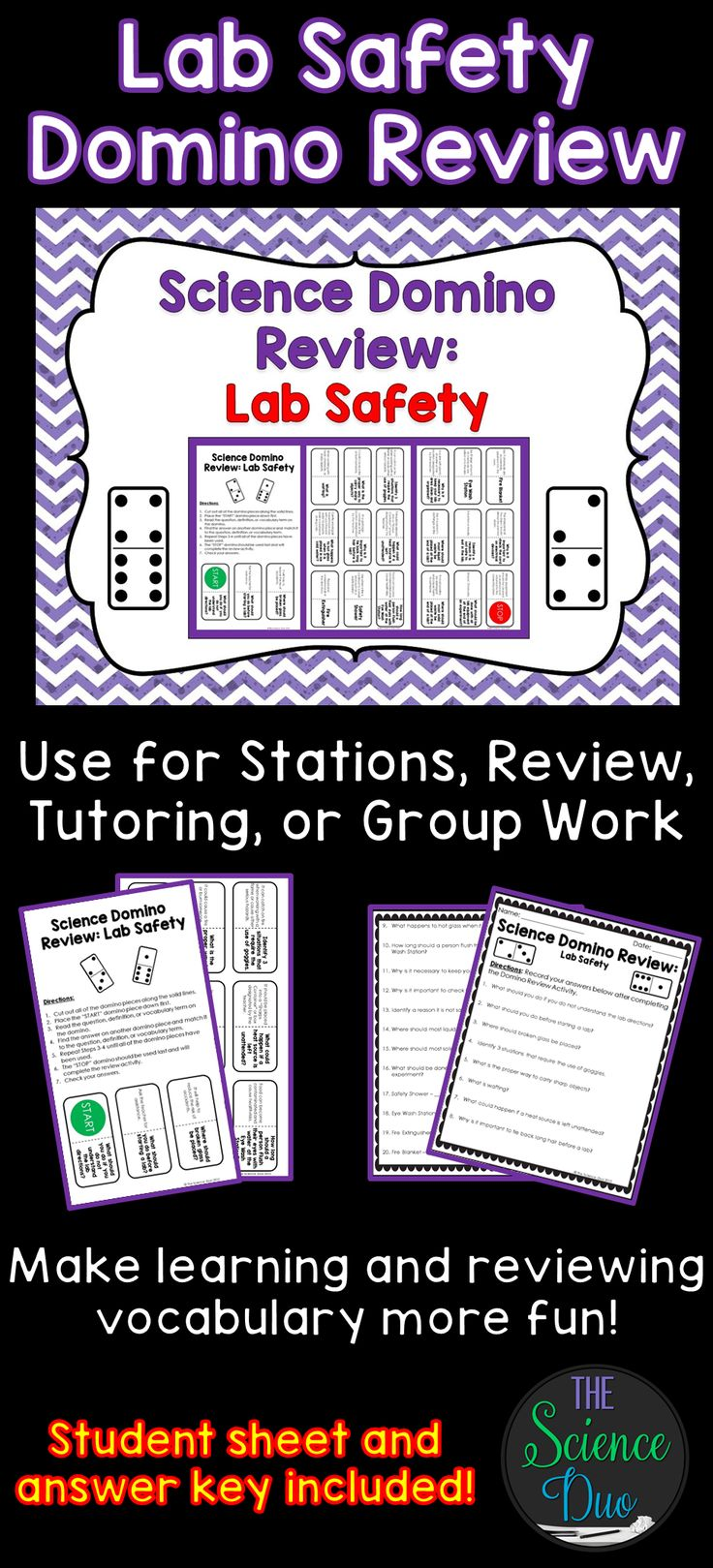 Lab Safety Science Domino Review Activity. Make learning and reviewing Safety rules and procedures more fun!