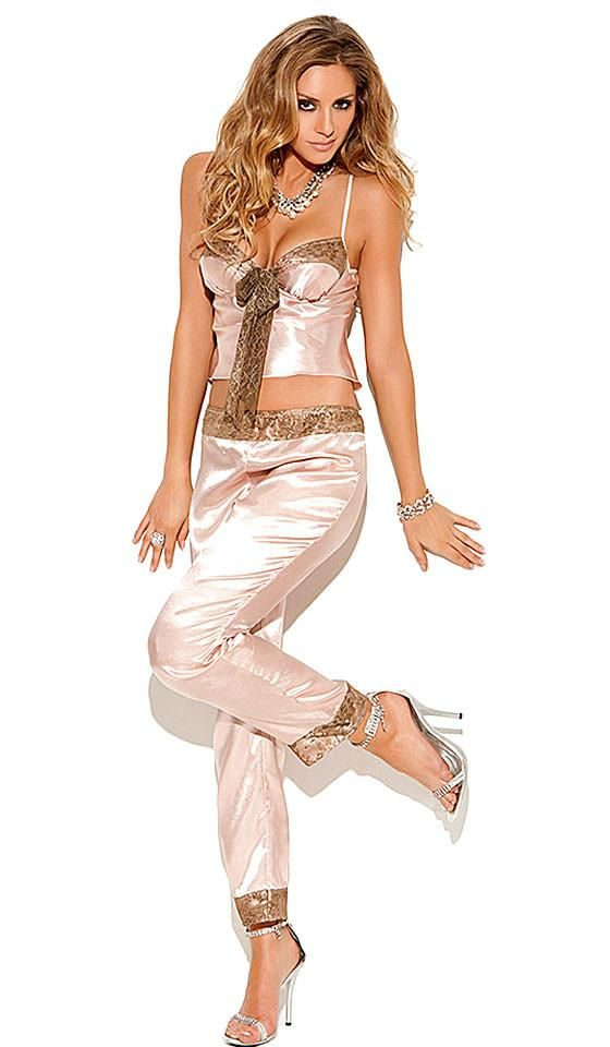 f63191086c8d3c Champagne Satin Charmeuse Cami-Pants Set w Lace Trim (Small or XL)
