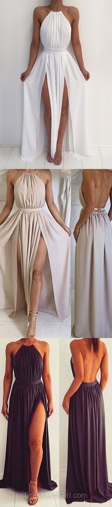 Chiffon Prom Dress, Open Back Prom Dresses, Sexy Evening Dresses, White Party Dresses, Halter Formal Dresses