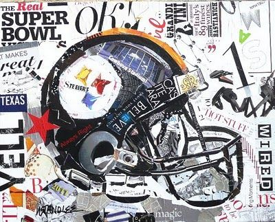 Nancy Standlee Art Blog: Pittsburgh Steelers Football Helmet ~ Torn Paper Collage Painting ~ Super Bowl Art Show ~ Art Bowl MMXI by Texas Contemporary Artist Nancy Standlee