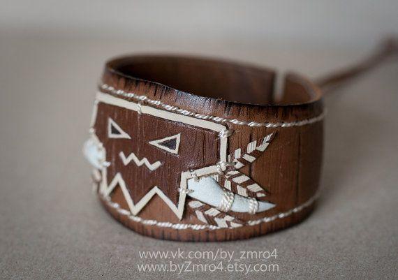 Les trolls de Warcraft horde bracelet. Bracelet de Jin. World of Warcraft. Bijoux de la Horde. Troll de Warcraft. Bracelet en cuir