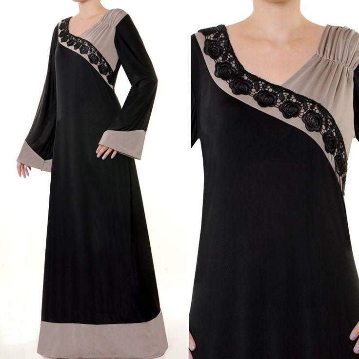 3923 Black Floral Lace Trim Abaya Dress - Size S/M US$34 FREE SHIPPING WORLDWIDE…