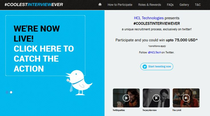 HCL Technologies Launches #CoolestInterviewEver, World's First Twitter Recruitment Campaign