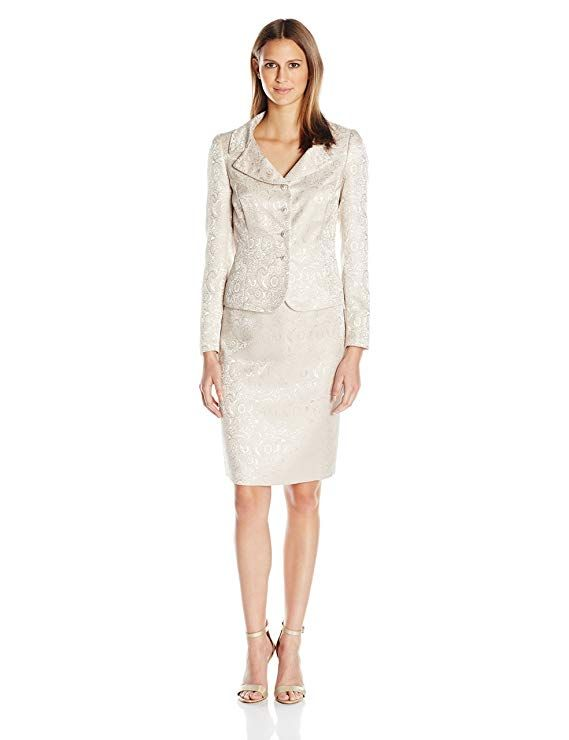 3add2f74fd5c Tahari by Arthur S. Levine Women's Missy Jacquard Button Front Skirt Suit,  Champagne, 10