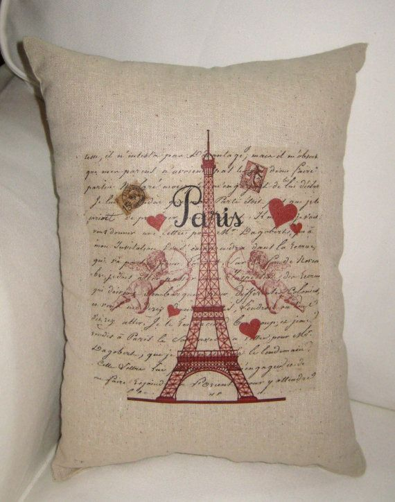Eiffel Tower and Hearts Valentine Pillow by frenchcountrydesigns on Etsy, $17.79