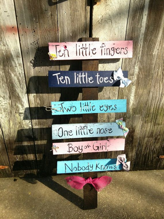 *****Gender Reveal Party Baby shower decor *****Put on edge of driveway to greet family and friends with. Use balsa wood from home depot and paint.