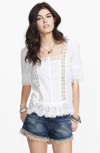Free People 'Sweet Jane' Lace Trim Peplum Top available at #Nordstrom