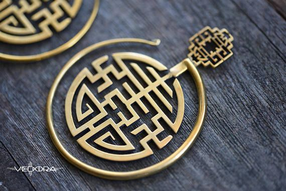 Brass Hoop Tribal EarringsEar WeightsDangle PlugsBrass