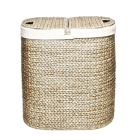 Sort your laundry like a pro with the Water Hyacinth Oval Double Hamper from Seville Classics. This durable wicker hamper features 2 canvas bags that can hold your laundry and be used to transport dirty clothes and more.