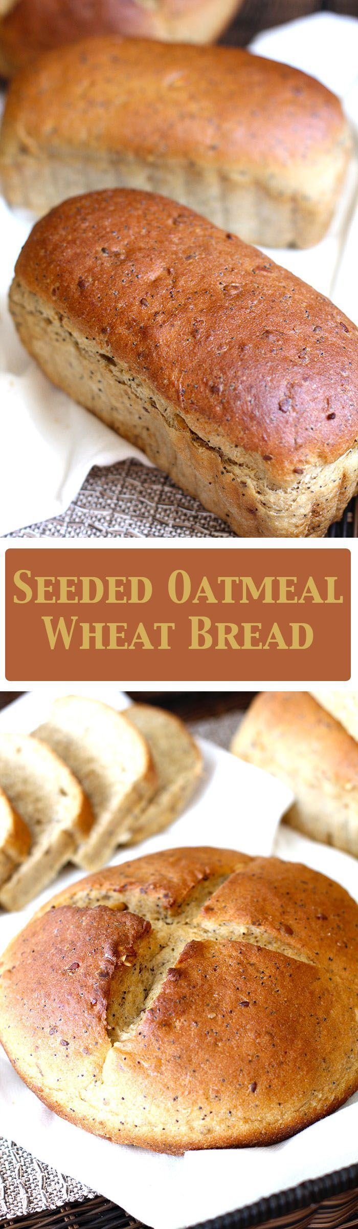 A hearty and super nutty tasting bread, with oatmeal, honey, white whole-wheat flour, and plenty of seeds! So delicious with a pat of butter!!