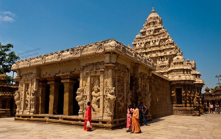 """Kailasanathar Temple.(meaning:""""Lord of the Cosmic Mountain""""), The kanchi Kailasanathar temple is the oldest structure in Kanchipuram. Located in Tamil Nadu, India, it is a Hindu temple in the Dravidian architectural style. It is dedicated to the god Shiva, and is known for its historical importance. The temple was built from 685-705AD by a Rajasimha ruler of the Pallava Dynasty. It is built in the tradition of Smartha worship of Shiva, Vishnu, Devi, Surya (Sun), Ganapathi and Kartikeya."""