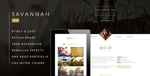 Check out Savannah. Responsive vCard Portfolio Theme @bootstrapstage