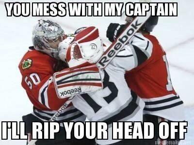 Haha! Love Crow! Corey Crawford Hockey Memes Chicago Blackhawks