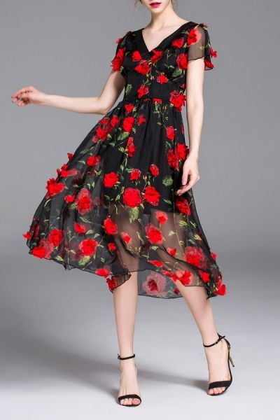 Blueoxy Black V Neck Waisted Rose Applique Dress | Midi Dresses at DEZZAL