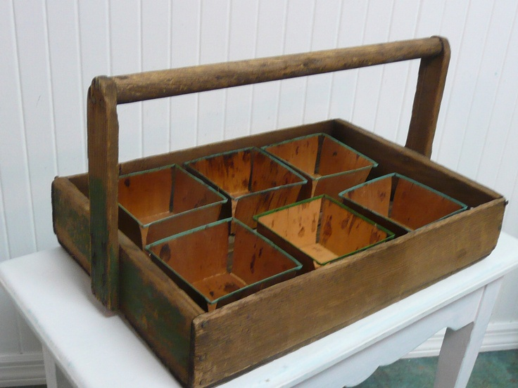Primitive Berry Basket Carrier with Six Wooden Berry Baskets, Crate Carrier, Garden Tray,  Painted Wood, Handmade, Rustic, Farmhouse Shabby. $42.00, via Etsy.