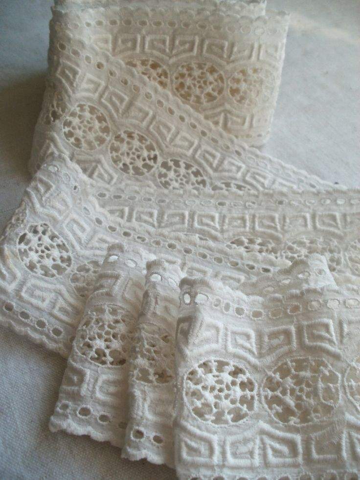 Antique Lace Trim, Broderie Anglaise Lace, 2.5 yards / Sewing Supplies. Period Costume Vintage French Lace Trim Haberdashery. Dolls Clothes by BrocanteArt on Etsy