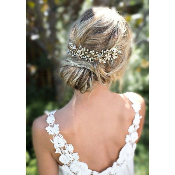 Boho Gold Halo Hair Vine, Flower Crown, Gold or Silver Wire Hair... ❤ liked on Polyvore featuring accessories, hair accessories, boho flower crown, bohemian hair accessories, bride flower crown, boho hair accessories and floral garland