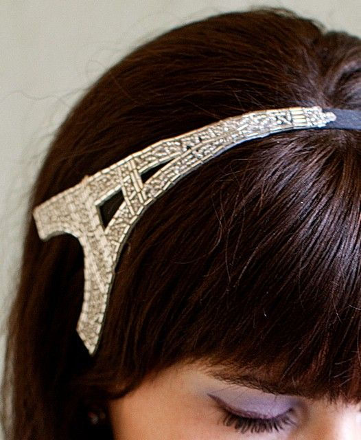 Eiffel Tower Headband Silver Beaded Headband by bethanylorelle
