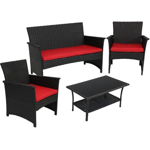 Arklow 4pc Rattan Outdoor Patio Furniture Set With Cushions Gray