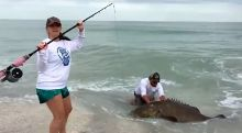 Remarkable 300-Pound Fish From Shoreline – Video
