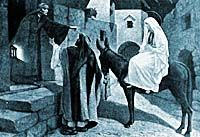 Inn keeper talking to Joseph.  Information about the Common Misconceptions about Jesus Christ Birth