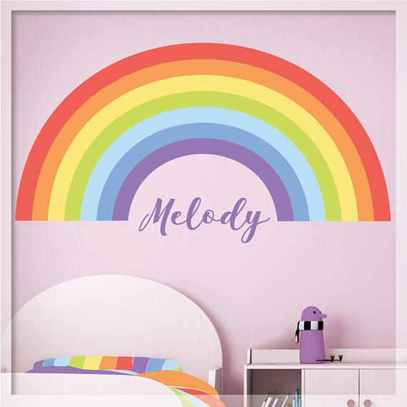 Rainbow Wall Decal Pastel Personalized Rainbow Decor Rainbow