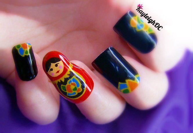3D Russian Doll Nail Art