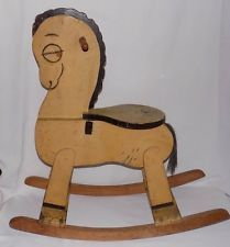 Arte popular único antiguo primitivos niños hecha a mano de oscilación de madera caballo de juguete