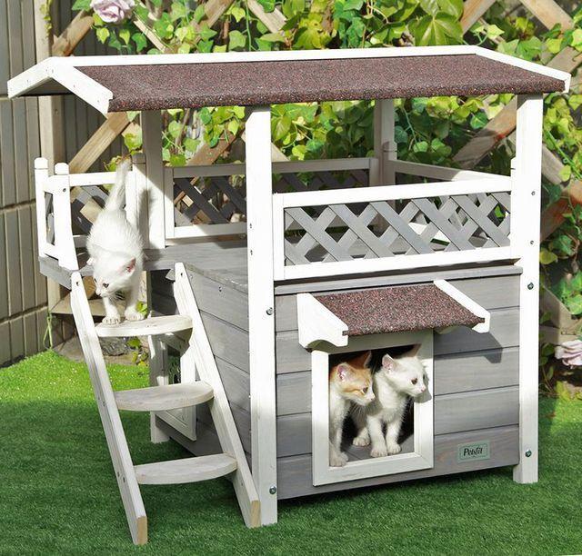 Una Espectacular Casa Para Tus Gatos Con 2 Pisos Casita Para