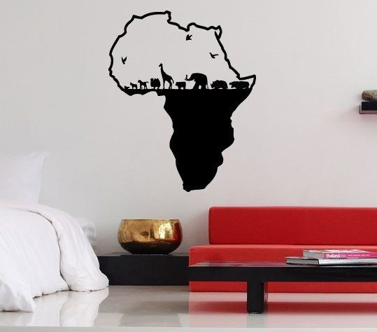 Wall Vinyl Sticker Decals Mural Design Cool Africa Continent Wild Animals Map Birds Elephant Zoo 738