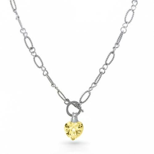 Silver Cable Figaro Chain Yellow Citrine Heart CZ Toggle Necklace