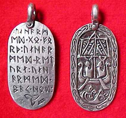 "Modeled from the Lillbjärs picture stone found in Stenkyrka, Gotland, Sweden, the inscription on the back is Frigga's blessing to Odin ""Unharmed go forth, Unharmed return, Unharmed safe home"""