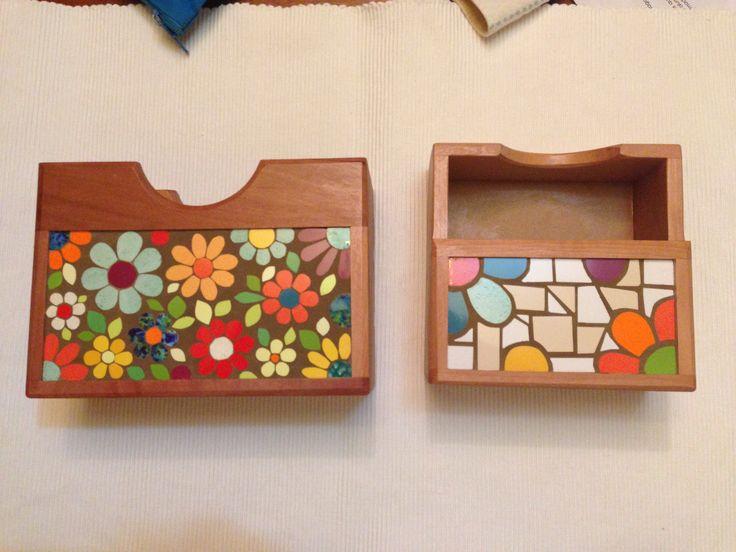 Servilleteros: dos formas distintas de trabajar fondo/fragüe. Mi mosaico