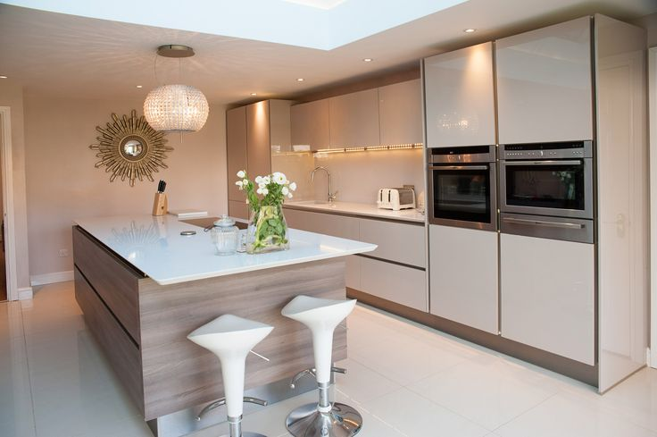Classic laser brilliant gloss cashmere true handleless and the large island is grey acacia work - Stylishly modern kitchen islands additional work surface ...