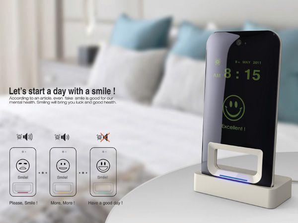 The Smile Alarm Clock has face recognition sensors that turn off the alarm only if you give it a bright sunny smile; no half-smiles will do! What a positive way to begin your day….SMILE! i want this