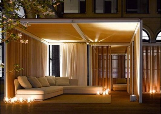 How the space can be used in the evening. Create a welcoming spot with subtle lighting.
