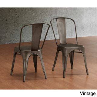 Tabouret Bistro Steel Side Chairs (Set Of 2) (Vintage), Brown (Metal)