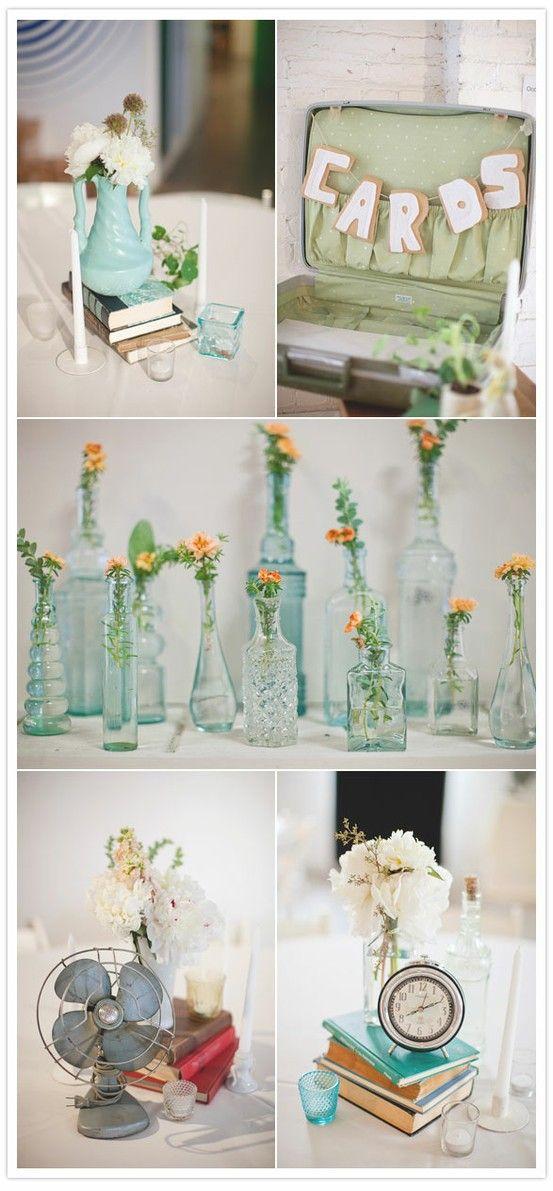 cute!: Vintage Weddings, Wedding Ideas, Vintage Bottle, Cards Boxes, Suitca, Flowers, Centerpieces, Diy Vintage, Vintage Decor